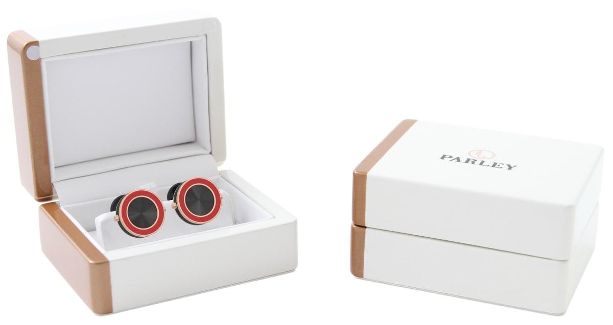 18kt Rose Gold & Red Epoxy Top Line Bezel Watchlinks with Black Sunburst Inlay