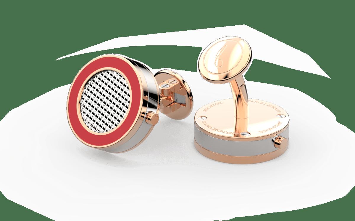 18kt Rose Gold & Red Epoxy Top Line Bezel Watchlinks with Steel Clous de Paris Inlay