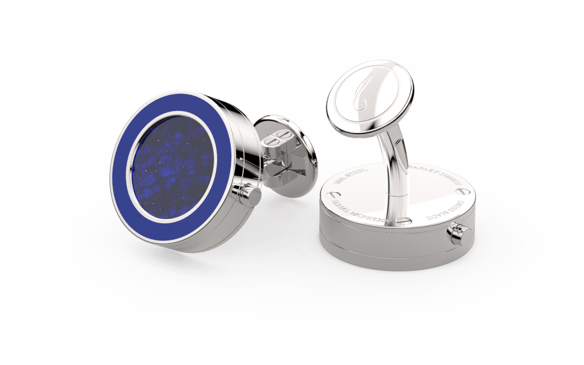 Steel 316L & Epoxy Top Line Bezel Watchlinks with Lapis Lazuli Inlay