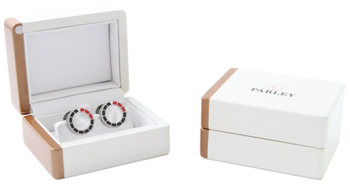 Steel 316L & Red-Black Epoxy Scuba Marine Bezel Watchlinks with White Mother of Pearl Inlay