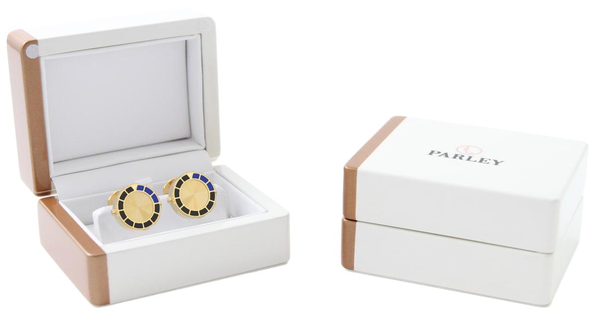 18kt Gold & Black Epoxy Scuba Marine Bezel Watchlinks with 18kt Gold Sunburst Inlay