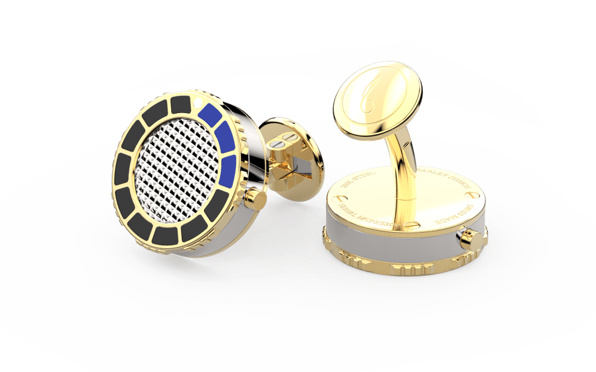 18kt Gold & Black Epoxy Scuba Marine Bezel Watchlinks with Steel Clous de Paris Inlay
