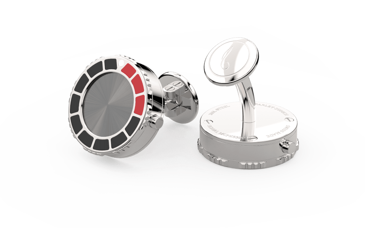 Steel 316L & Red-Black Epoxy Scuba Marine Bezel Watchlinks with Grey PVD Sunburst Inlay