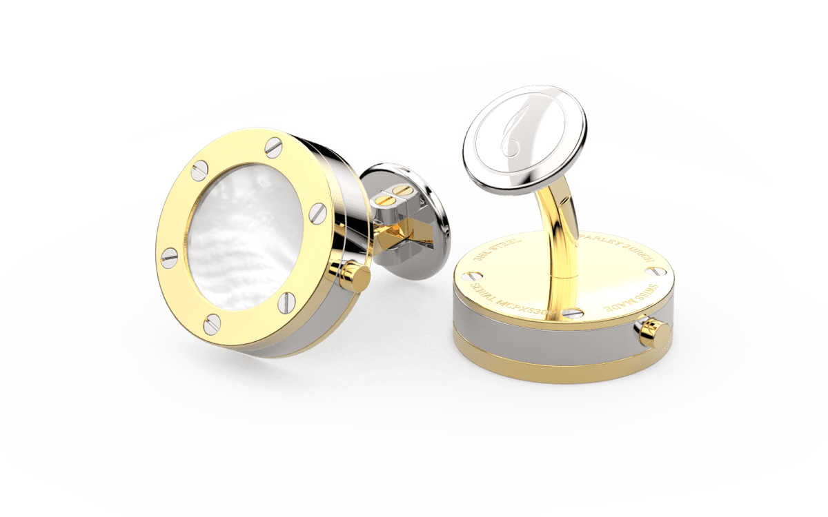 18kt Gold Top Screw Bezel Watchlinks with White Mother of Pearl Inlay