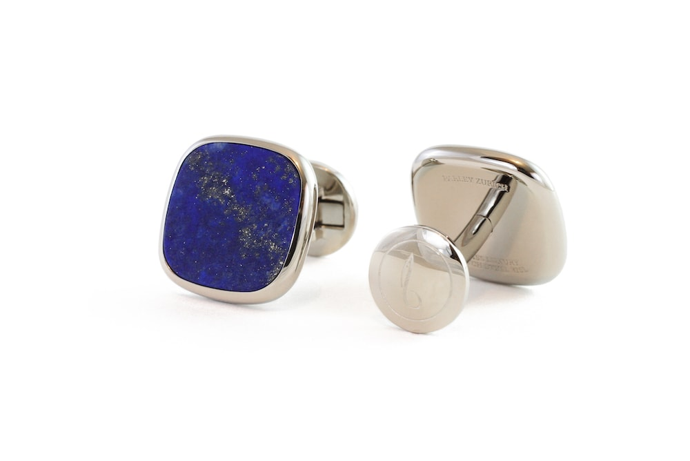 Steel Cufflinks Blue Lapis Lazuli Inlay