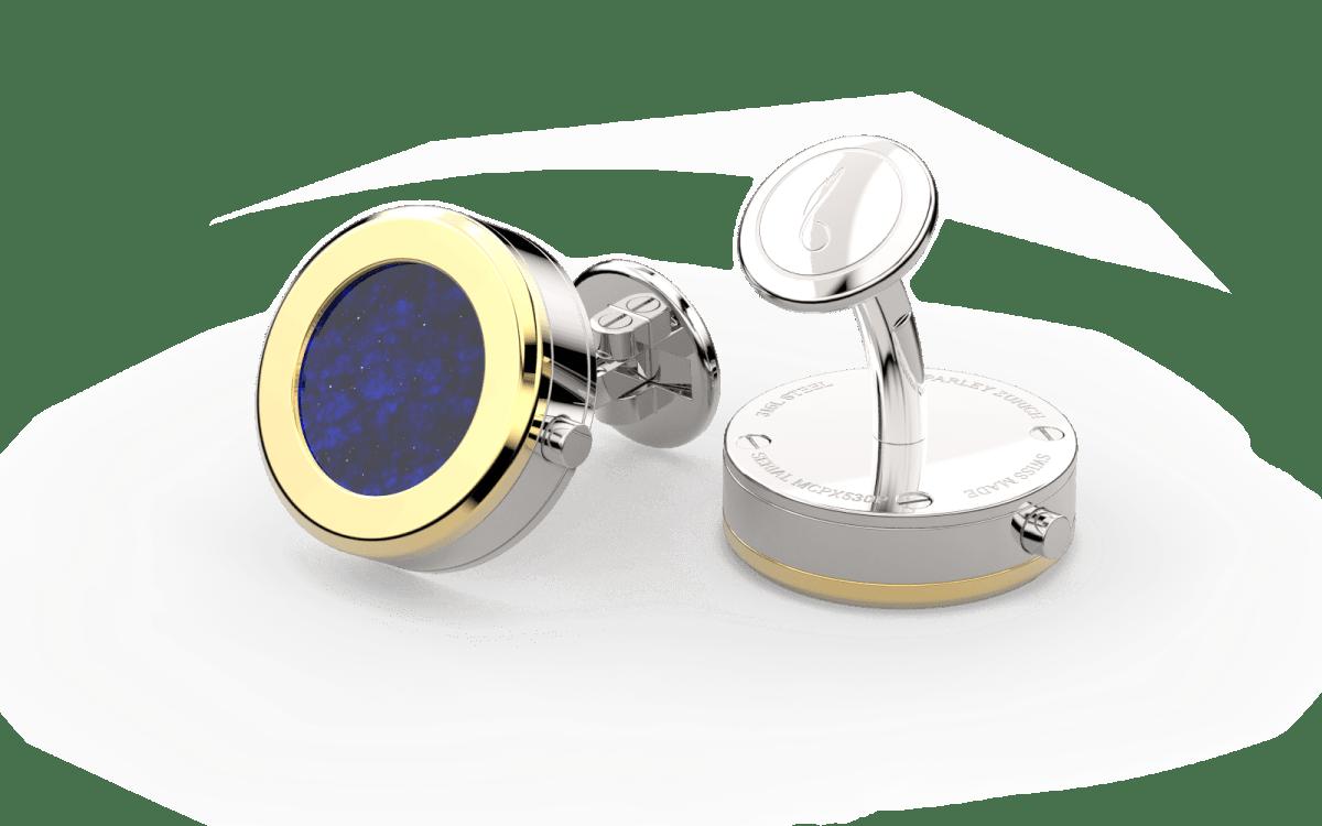 18kt Gold Beveled Edge Bezel Watchlinks with Lapis Lazuli Inlay