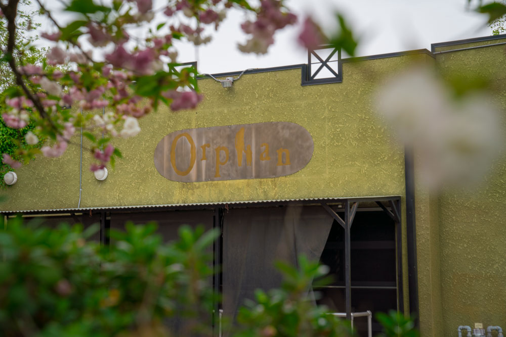 Sign outside of Orphan Breakfast House in Sacramento, California