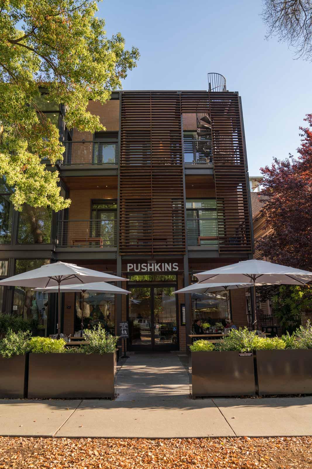 Exterior of Pushkins Bakery in Sacramento, CA
