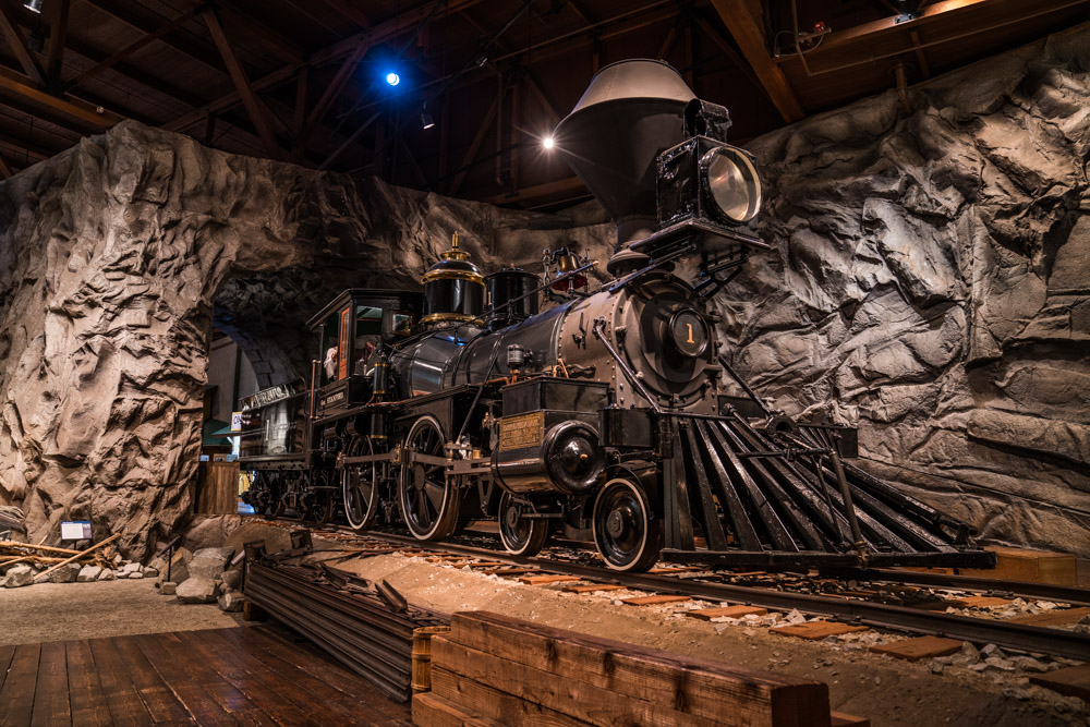 Trains at the California State Railroad Museum in Sacramento, CA