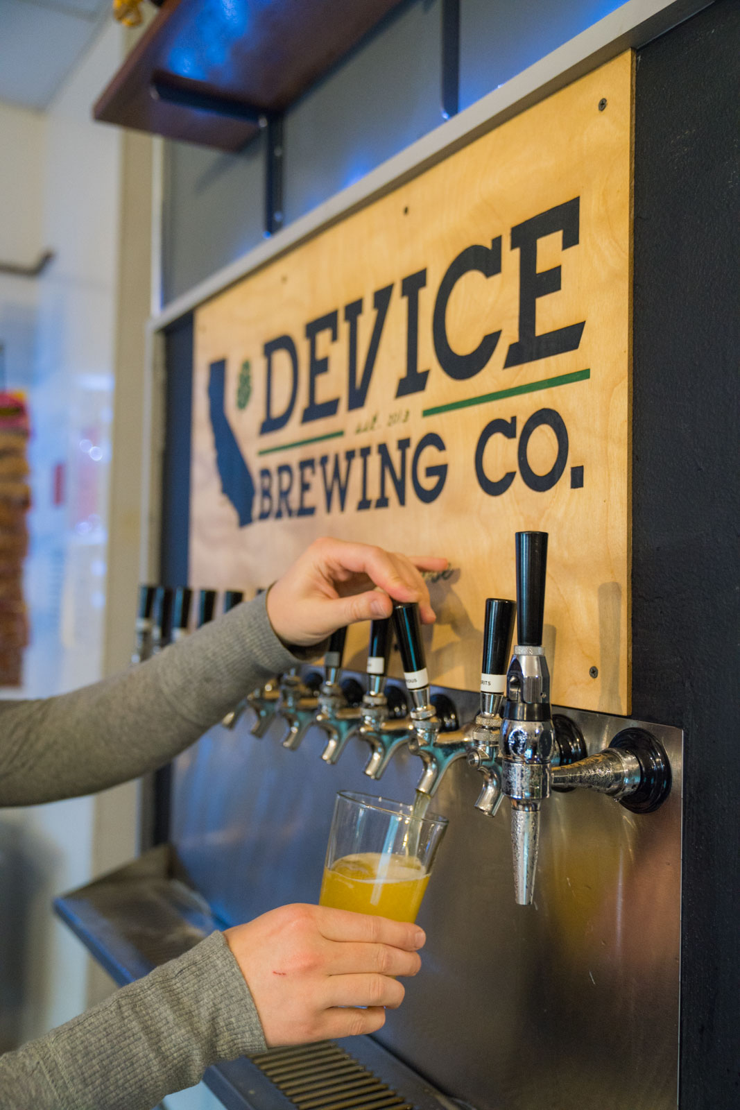 Pour beer at Device Brewing Company in Sacramento
