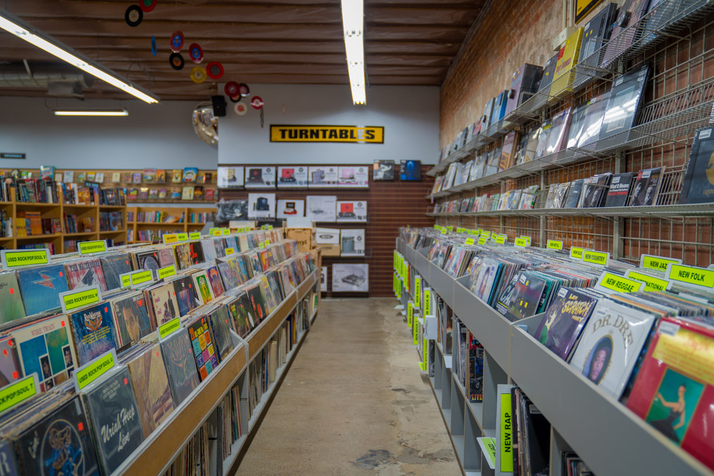 Interior of Dimple Records in Sacramento, CA