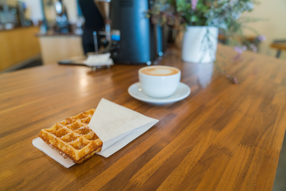 Coffee and a waffle at the Mill in Sacramento, CA