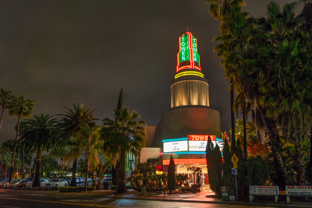 Tower Theater in Sacramento, CA at night