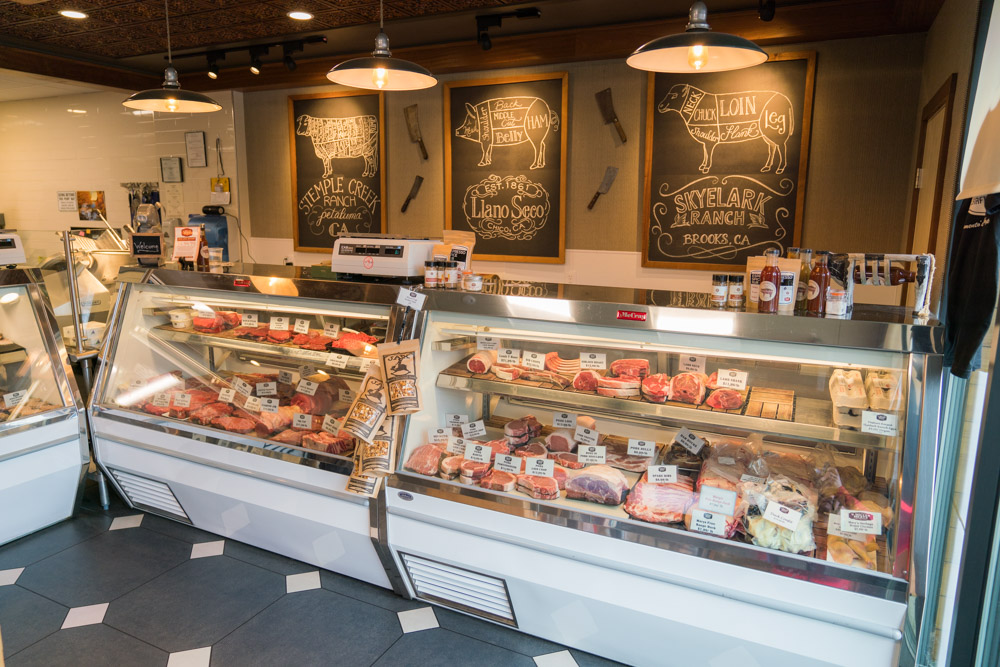 Interior of V. Miller Meats Butcher Shop in Sacramento, CA