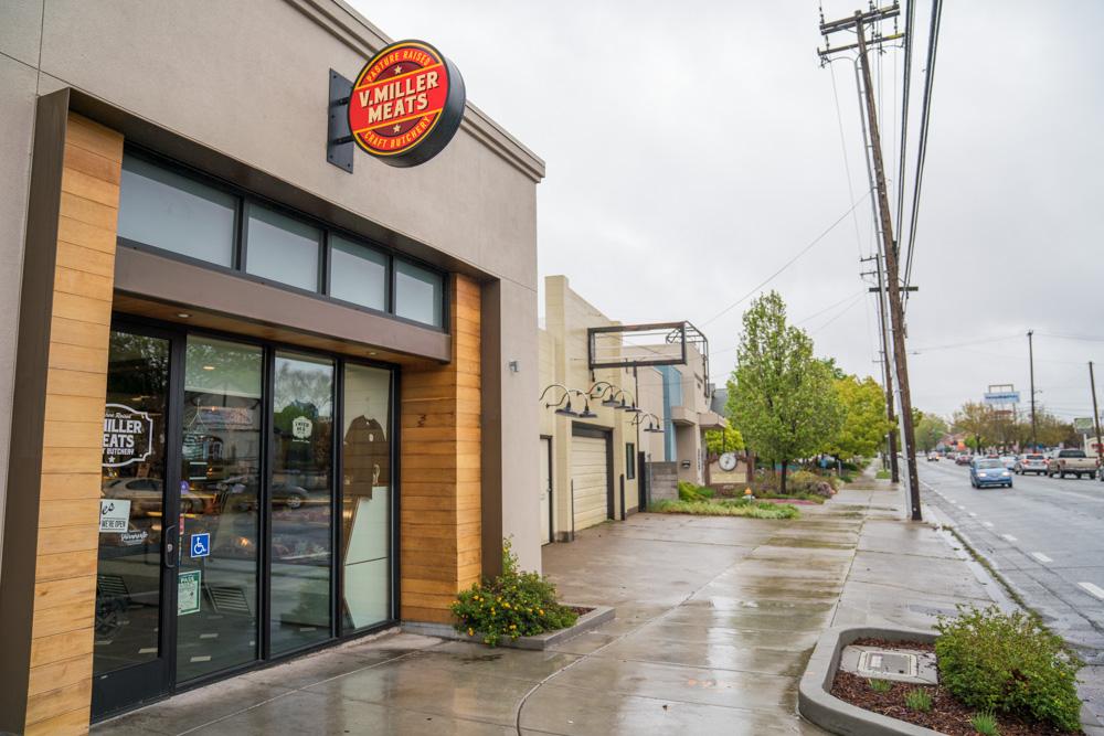 Exterior of V. Miller Meats Butcher Shop in Sacramento, CA