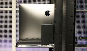 Back view of racked iMac Pros