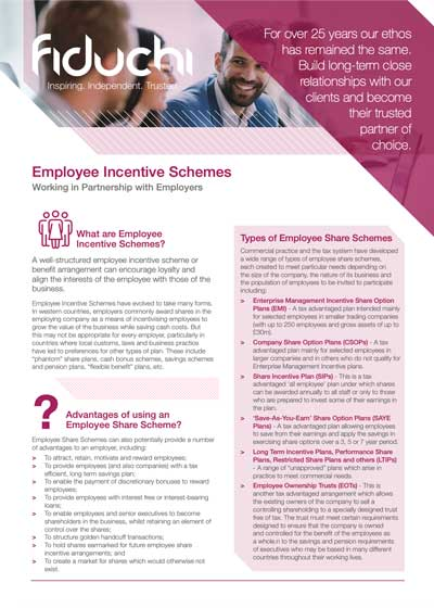Fiduchi Employee Incentive Schemes (UK) Leaflet