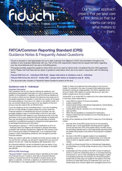 FATCA CRS Guidance Notes & FAQs