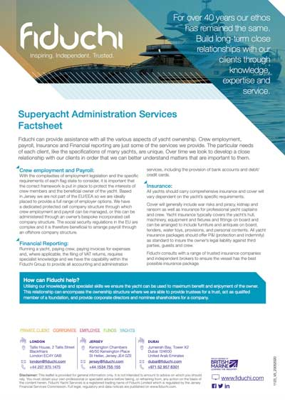 Yachts Administration Services Factsheet