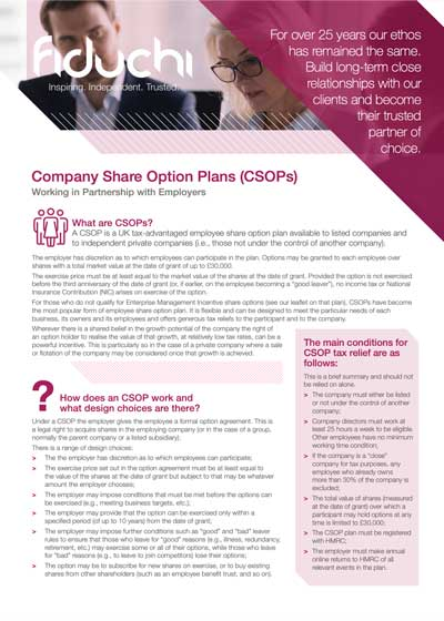 Fiduchi Company Share Option Plans (CSOPs) Leaflet