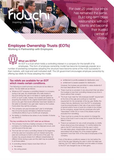 Fiduchi Employee Ownership Trusts (EOTs) Leaflet