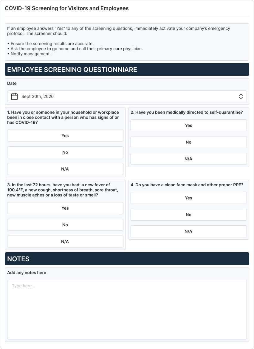 COVID-19 Screening Checklist for Visitors and Employees