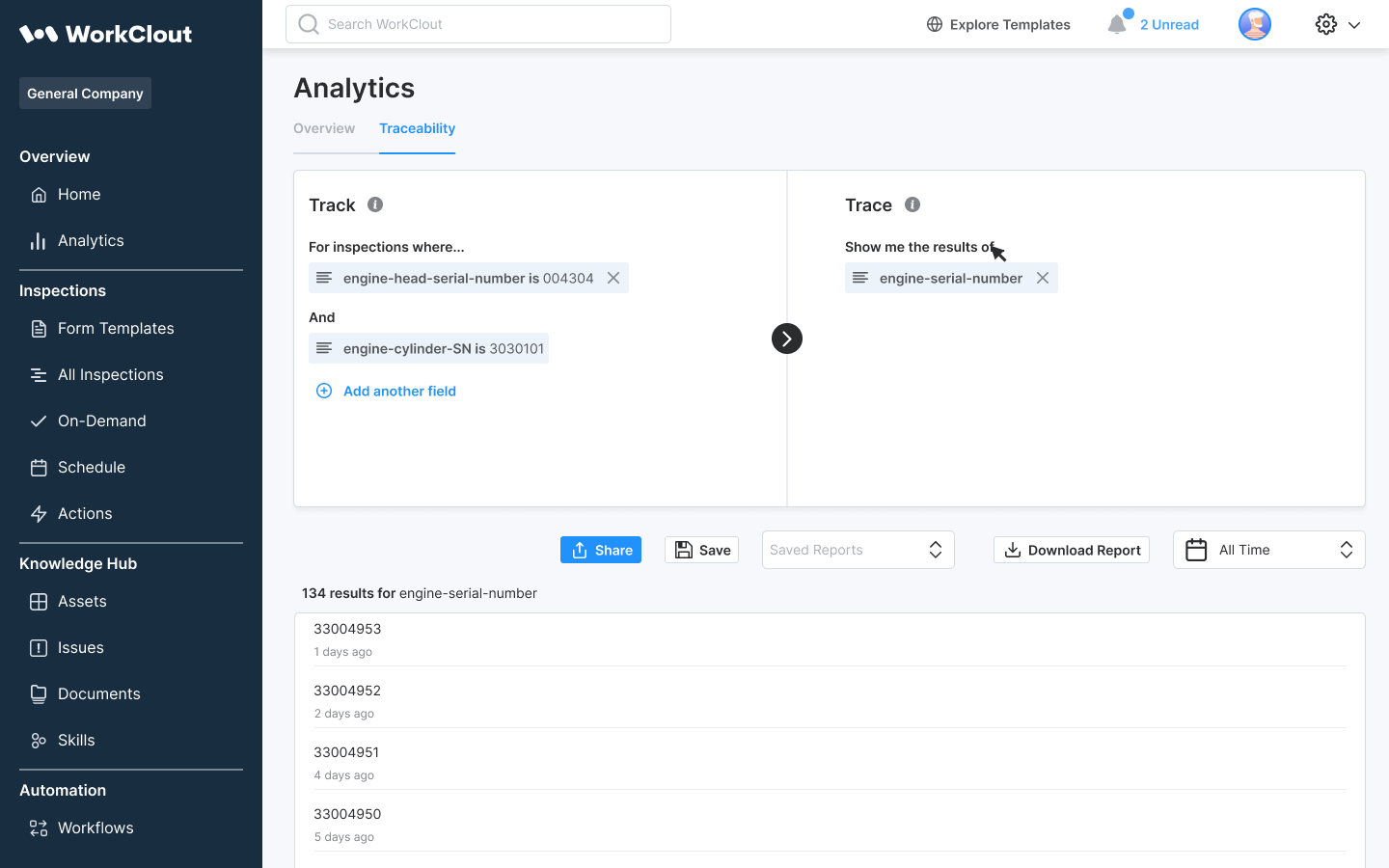 WorkClout, trace and trace, reports, analytics, data