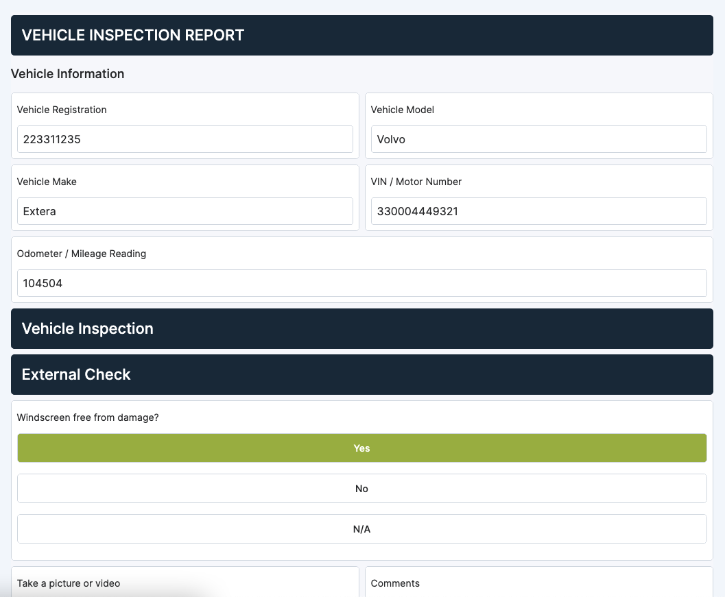 vehicle inspection report checklist