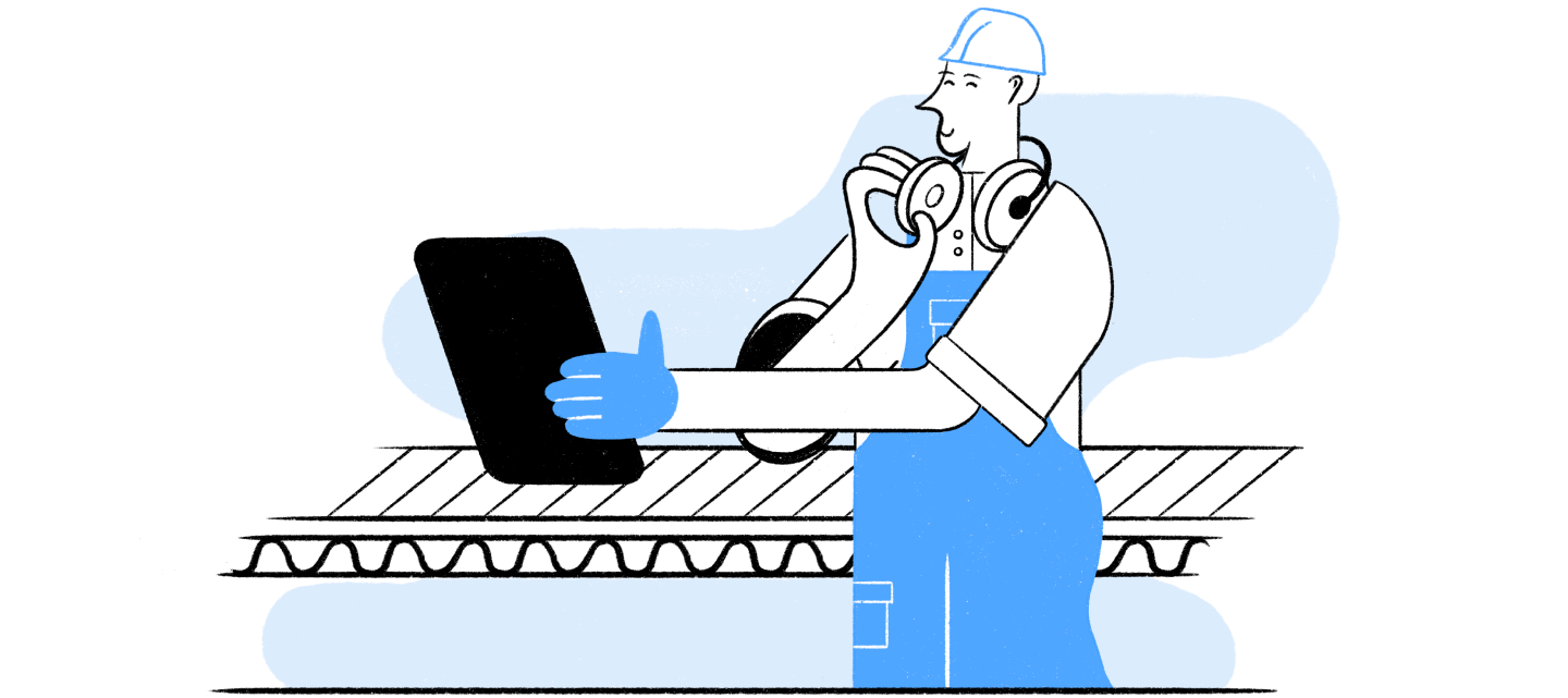 illustration of person performing an inspection using a tablet on WorkClout.
