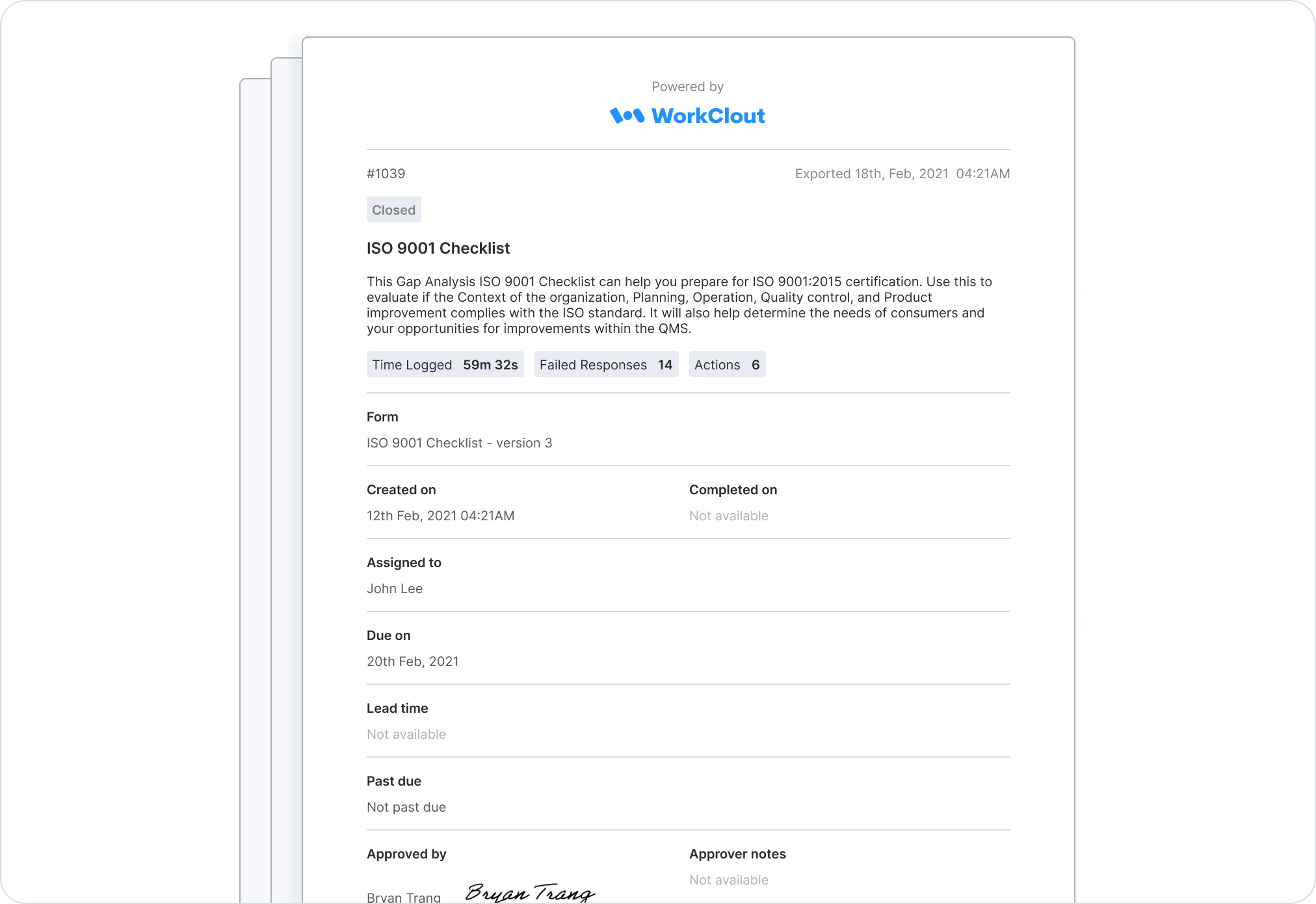 PDF export of WorkClout form data