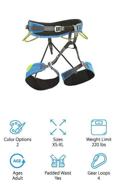The CAMP Energy Harness comes in two color unique color varieties, blue with black and grey with yellow. CAMP has been making gear like this for years; it's a good brand name to trust. This rig has the perfect blend of comfort and utility. There's padding right where your legs will rest and right on your waist to give you as much comfort as possible. The webbing is reinforced, and the gear loops are built right into the webbing to give your gear as much protection as this harness will give you. This rig is light and out of the way. You won't even know you're wearing it while you're climbing or doing your other activities. The trusted name and intuitive design make this one of the best climbing harnesses for sale. CAMP has excellent customer service that will answer any questions you may have. Their range of sizes also makes this a harness that's worth checking out!