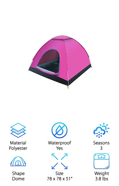 Available in four fun colors, if you're looking for a camo pop up tent, this won't do the trick for hunting, but it's certainly easy to hide once you're done with it! The Famous Juggle pops up to open and folds back down just as easily into a small disc for easy storage. Waterproof and featuring a UV coating for added protection from the hot sun and damaging rays, this tent is perfect for kids playing in the yard, a day at the beach, or a night under the stars. A full mesh top provides excellent ventilation throughout the tent and also lets parents peek in to see what's happening inside. The rainfly lets you easily convert it to a durable model ready for a camping trip and provides privacy, so you can feel secure while sleeping. At just 3.8 pounds, carrying the Famous Juggle will never be a struggle or leave you feeling fatigued. Complete your next outdoor excursion with this convenient, fun tent!
