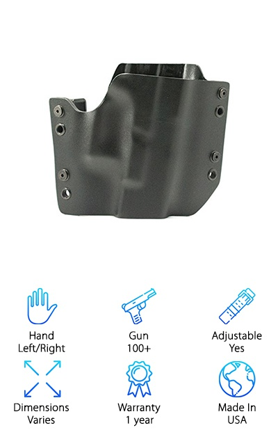 "This Kydex holster is a very popular choice, and for good reason. It fits dozens of models, including Bersas, Springfields and much of the Taurus line. Kydex is a low-friction plastic that holds up well and retains its shape without a lot of shift. The R&R OWB Kydex Holster is made in the commonly seen ""pancake"" style, where the two pieces of Kydex are pancaked or joined together around where the gun sits. This results in a holster so slim it can fit very tight to your body, making it easier to move around and easier to hide your gun when necessary. Another thing that's great about Kydex is how light it is. This holster won't weigh you down. And check this out: the cant is adjustable by up to 15 degrees. The angle you're most comfortable with is easily achieved! Available at an affordable price with both left and right-handed draw options, you'll love the fit and the many choices offered."