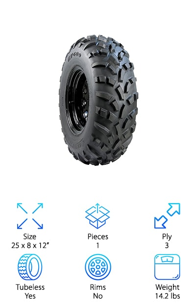 These tires for ATVs from Carlisle are a great balance of traction and handling while providing you with a nice, smooth ride. The unique tread design works well in mud, snow, and on hard surfaces. They even do well on normal roads, though we should mention that frequent riding on asphalt could cause them to wear more quickly. That's not all. If you're looking for a great tire to use on sand, you won't be disappointed by this one. It's puncture resistant which adds to its durability and can even extend the life of the tire. Another good thing about the tread is that it's spaced pretty far apart which makes cleaning up easy. We were really impressed by this tire, especially due to how well it performs on sand and snow.