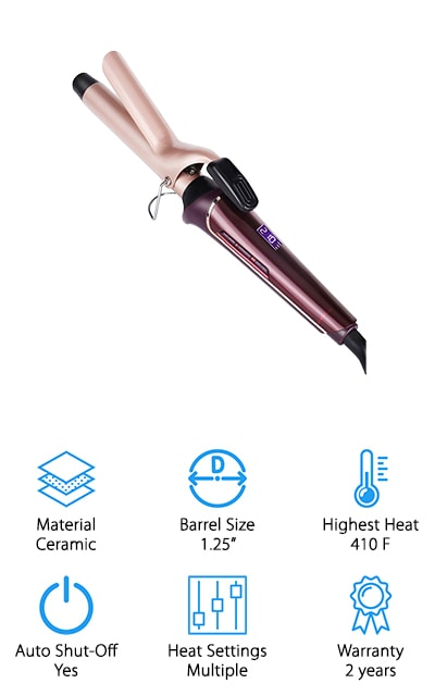 If you're looking for the best curling wand for fine hair, you may have found it. The WEILIANTE hair curling wand is suitable for both long and medium-length hair. Ladies, you can finally have those beautiful and bouncy curls that you have always been dreaming of. The ceramic technology allows the iron to reach 410-degrees in only 30-seconds. There are multiple heat settings that allow you to change the heat from 200 all the way to the max 410-degrees  The construction lets you curl your hair with smooth operation to avoid pulling the hair. There is a 360 degree rotatable power cord that can stretch up to 2.5 meters, which is 40% longer than similar irons. At the end of the wand is an insulated tip for safe curling. With this product, you get a 30-day free to try and a 2-year guarantee policy. We think that this is a great curling wand for those who want beautiful curls with their fine hair.