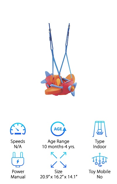 The HABA Aircraft Swing makes your little one feel just like an airline pilot (even if they don't know what that is yet).It's super soft and designed to be used indoors but it gives them the fun of any outdoor swing as well. Designed for children between 10 months and 4 years, this swing is made with polyester, which means it can be washed easily if you ever end up with a mess. The seat and straps are adjustable and grow with your child while the design makes it super easy to use. You can hang this swing just about anywhere you want you can definitely enjoy playing with your little one and showing them all the fun of the new toy. They should always be supervised with this swing but they'll also have plenty of safety features and can enjoy jumping and playing around whenever they want.