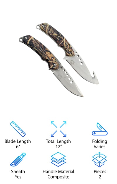 Here's another awesome hunting knife set that has exactly what you need if you're a hunter. There are 2 knives, one with a fixed blade and one that folds. The fixed blade is 8 ½ inches long with a 4 inch blade and has a get hook on the back. The folder has a 4 ¼ inch long handle and a 3 ¾ inch blade. It's about 5 inches long when folded up. Each one has a 440 stainless steel blade which is a really great metal for this kind of knife. It has a high carbon content and it heated to become the hardest of any grade of stainless steel. It also stands up to corrosion and abrasions. Plus, it's resistant to air and water so you don't have to worry about this one rusting.