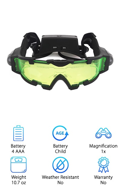 If you're in the market for the best value night vision goggles for kids, look no further. Your child is sure to feel like a super spy while wearing these awesome, affordable sleuth glasses. The AGM goggles are equipped with green lenses and glowing etched graphics, providing a cool effect that makes kids feel like authentic secret agents. Flip-out flashlight beams, attached to the sides of the lenses, provide blue light. Kids are able to see 25 feet in front of them while wearing these, even in a dark room! Adjustable elastic bands ensure the perfect fit, so your child can move around in comfort without the goggles falling off. A soft nose pad keeps the goggles sitting gently on the bridge of the nose. The hand-held design allows kids full use of their hands, so they can play and explore while enjoying night vision capabilities. If you're in the market for the perfect gift for your favorite spy, you found it!
