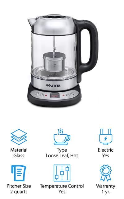 This glass tea kettle has programmable temperature settings so you can get just the right temperature for you. It also has a precise tea infuser that lets you raise and lower the strainer so you can get the perfect type of flavor for your preference. It can also boil water alone, which means that you can use it to get water for anything else you want, including oatmeal, noodles, cocoa and a whole lot more. The base can be taken anywhere you want to pour your cup as well. The 2 quart pitcher has an easy pour spout and a heat resistant handle that keeps it safer for you to use and pour without having to worry about burning yourself. The infuser is also capable of taking any kind of loose leaf tea so you can get that perfect cup.