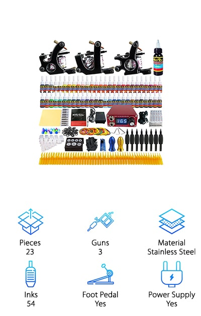 Here's another great kit that comes with multiple guns. The 3 different machines are able to do both lining and shading. This kit gives you absolutely everything you need to get started. Not only do you get a power supply, foot pedal, and clips cord, but also an abundant supply of needles, grips, tips, and 54 different bright colors of ink. What's cool about this kit is it covers everything. For practice, it gives you dual-sided and reusable practice skin and a manual to get started. Then, when you're ready, you have everything you need to start tattooing. When you're done, use the set of cleaning brushes and the adjustment tools to make sure your gun stays in good condition. And get this. There's a 1-year maintenance warranty on each tattoo gun.