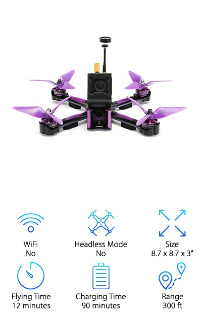 What do you want to get from a racing drone? How about some speed! The EACHINE Wizard FPV Racer is not only a great little piece of engineering, it is also FAST. This DRL racing drone for sale will get you past the finish line with a medal every time. It measures 8.7 by 8.7 by 3 inches in dimension. The 700TVL camera can be adjusted so that you get the shot you need. Direction indicator LED lights will allow you to pilot even in low light. Parts are made from carbon fiber, so it will survive most crashes or drops. Your purchase includes the drone, the transmitter, the charger, a battery strap, antenna, and a wrench. There are also plenty of extra 3-blade purple propellers for flying. The drone has a charging time for batteries of about an hour and a half. Flying time is 12 minutes, plenty of time to get your racing on. The range is 300 feet!