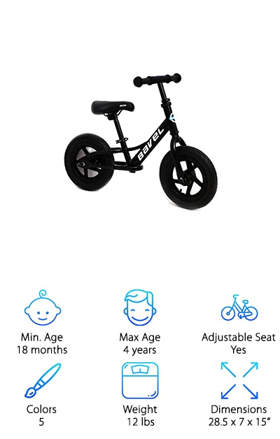 If you're looking for the higher-quality best balance bike for 4 year olds, we've got the one for you. The Bavel Kids Balance Bike sports a classic design and 5 eye-popping color options: black, blue, pink, red and yellow. It can be purchased at a great price. This is another balance bike designed simply to do one thing: teach kids to balance using their feet. That way, the transition to a pedal bike is much quicker and more intuitive. Assembly is simple, with tools included. How great is that? That's not all: both the seat and the handlebars are adjustable. Kids aged 18 months and up can enjoy this balance bike both indoors and outdoors. At 12 pounds, this bike is a little heavier than our other selections, but still easily managed. You'll be pleased with the quality of materials and design with this kids balance bike. It's perfect for gifting! Try it out today, and put the biggest smile ever on a kid's face.
