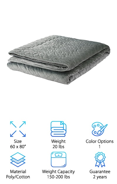 If you are searching for a weighted blanket of quality and substance, your search is over. Miran Blankets and their Deep Sleep blanket is what you've been looking for. They are one of the few companies out there to offer a 2-year warranty on their product. They make them in two different weights, both with the same measurements. This 60 by 80-inch blanket comes at both a 15-pound weight and a 20-pound weight. The lighter cover is recommended for someone weighing between 100 and 150 pounds. The 20-pound blanket works for someone weighing 150-200 pounds. This is a beautiful and very popular product. Inside, the cotton inner liner is weighted down with premium glass microbeads suspended in polyester padding. They are pocketed into 6-inch squares so that you do not have to deal with bunching. The outer layer is made of polyester minky fabric, as soft as cashmere. The inner and outer tie together so that things don't slide around.