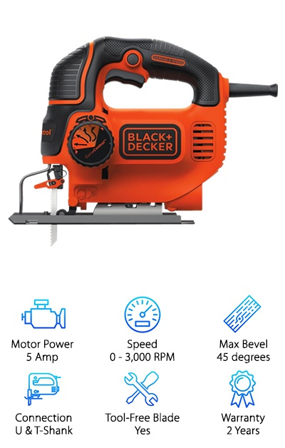 The last of our top ten favorite jigsaws is the Black + Decker BDEJS600C. We love this tool because it is shockingly cheap for a corded jigsaw. You might be wondering why it is so much more affordable, and that is because it runs off of a 5.0 Amp motor, which is smaller in comparison to more expensive jigsaws. Though the motor is smaller, it can still reach speeds up to 3,000 RPM, and you can still choose between four different orbital settings. You can easily make bevel cuts by adjusting the blade. It also allows you to adjust the shoe, so you can cut your angles with more stability. If you are looking for a lot of versatility in an affordable jigsaw, you will be happy to know that you can use either U or T-Shank blades. Whichever blade you choose to use, you will be able to easily swap out thanks to the tool-free blade change system. Our favorite part of this tool is the Wire Guard that helps provide a clear line of sight and more precise cutting. Lastly, this jigsaw is covered by a two-year warranty.