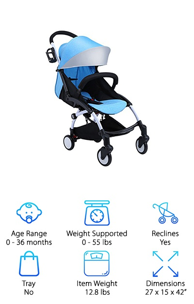 The Baabyoo Reclining Umbrella Stroller has a reclining position for everything! The five-point safety harness keeps your child in the seat as you move it from position to positions. There is a 95-degree position for sitting up and seeing the sights, as well as a nearly flat sleeping and one for breastfeeding. The breathable fabric wraps a hard back that is both comfortable and healthy for your baby. This stroller is lightweight, user-friendly, and high quality. From the shock-absorbing PU wheels all the way up to the Oxford cloth and aluminum frame, everything is made from quality materials that are safe and waterproof. So you'll never have to worry about your umbrella stroller again. And, with an age range of 0 to 36 months, you'll be able to keep this thing around for a long time!