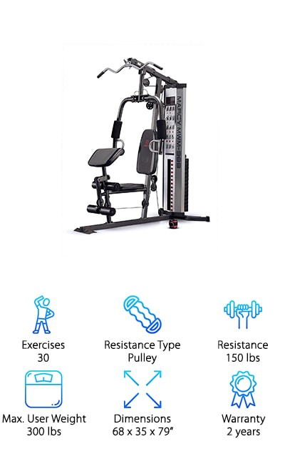 The Marcy Multifunction Steel Home Gym is a spectacular piece of compact home gym equipment. It's made from heavy-duty 14 gauge steel tube frame. The dual function press arm allows you to do vertical butterflies as well as chest presses. The double pulley stations allow you to strengthen muscles as well as weight lift using the lateral bars. The thick padding on the foam roller is perfect for leg workouts and the curler bicep pad helps you do hammer curls with ease and without putting too much strain on your back. To make it even better, the cost of the machine is less than some competitors that have fewer workouts and features. The weights can be easily changed by inserting the weight pin into whichever set of weights that you want and it's extremely easy to use and set up. You'll never have to worry about overcrowded gyms ever again if you have this bad boy set up in your home.