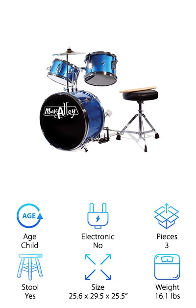 This snazzy blue three-piece drum set is sure to please the lucky kid who receives it! This three-piece small-size drum set is designed for kids ages 4-7 and includes an adjustable padded stool plus lightweight drumsticks. The set features a 14'' bass drum with pedal, 8'' snare drum, and 10'' cymbal. It's all made from real wood with chrome hardware to provide an authentic introduction to percussion. It's made just like an adult drum kit but in a smaller size. Whether they've already fallen in love with the drums or want to try them out, this drum kit is a great way to explore percussion without breaking the bank. It's one of our top choices for the best cheap drum set for kids since it's really just a miniature adult drum set! The included stool and drumsticks make this an all-inclusive package that can be a great gift.