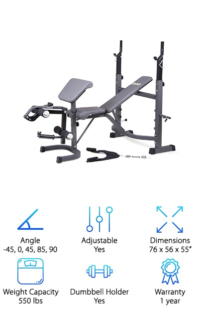 This is definitely the best Olympic weight bench we found in our research. For one thing, it's compatible with most weight set bars between 6 and 7 feet long. The backrest adjusts to 7 different positions: decline, flat, incline, and military positions let you focus on different muscle groups so you really get a full body workout. That's not all. It also has a dual-action leg developer so you can give your legs a good workout, too. It comes with a lot of the things you need to get the most out of it, too, like an Olympic plate adapter, preacher curl pad, arm curl bar, and ab crunch attachment with foam grips. You'll be comfortable while you're working out, too, because the padding is really supportive.