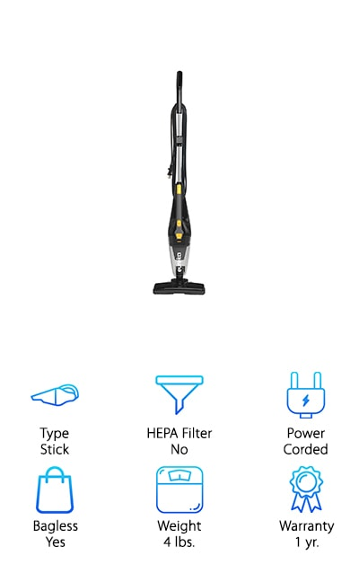 The Eureka Blaze Vacuum Cleaner is designed as a 3-in-1 with a stick form as well as 2 different versions of a handheld vacuum so you can get anywhere you need to. It's super lightweight, at only 4 pounds, which makes it easier to take on the stairs or even upstairs when you need to. It has a swivel steering design and can pick up large debris with the nozzle but there's still the 2 amp motor that can get even small particles of dust. The filtration system is washable and the dust cap makes sure that less is getting back into the air. There's an 18 foot power cord that lets you keep going longer without having to jump to the next power outlet and it works great on hard surface floors or carpet. If you need to get into really tight corners the crevice tool can take care of it.
