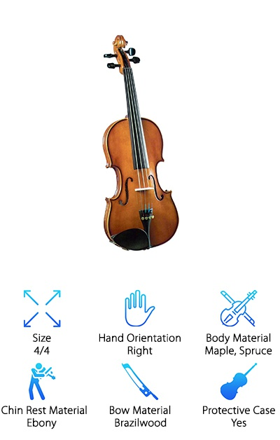 Want to be able to choose your color and size? The Cremona SV-130 Novice Violin comes in seven different sizes for everyone from kindergarteners to adults. It also comes in seven different colors, including traditional, sparkling purple, sparkling black, and more. That's tons of combinations! These violins are fitted with proper string spacing and a low-profile Kaufman chinrest. It features quality Prelude strings, Swiss-style pegs made from ebony, and tons of other little details that just make this a great student violin for children and adults. These instruments are hand-carved and made one at a time, making sure each one is as perfect as possible. The lightweight design ensures easy handling and great sound. We really love these violins, and we're pretty sure you or your child will love them as much as we do!